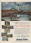 1953 Northeast Airlines New England Travel Lighthouse Photo Vintage 50s Print Ad