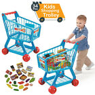 KIDS CHILDREN BLUE/PINK SUPERMARKET SHOPPING TROLLEY CART W/ FRUITS & VEGETABLE