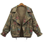 Fashion Women Floral Camouflage Blazer Coat Jackets Zipper Outwear Streetwear