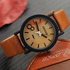 Simulation Wooden Quartz Men Watches Casual Wooden Color Leather Strap Watch Woo
