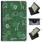 Giraffe Lion Elephant Hippo Drawing Universal Leather Case For Linx Tablets