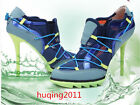 Spring Womens Chic Hollow out Lace up High Heel Mesh Sport Sneakers Denim Shoes