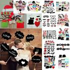 50/58/76Pcs Christmas Photo Booth Paper Props On Sticks Wedding Birthday Party