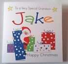 Lovely Personalised Handmade  Father Xmas With Presents Card. Grandson Son etc