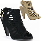 NEW CAGED CHUNKY HIGH HEEL WOMAN STRAPPY OPEN TOE PLATFORM PUMP SEXY SANDAL