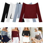Fashion New Women Slim Off Shoulder Shirt Crop Tops Long Sleeve Blouse Sweater