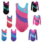 Kid Girls One-piece Color Stripe Ballet Dance Bodysuit Gymnastic Leotard 2-10Y