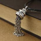925 Sterling Silver Retro Tassel Charm Pendant Necklace for Women A2777