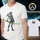 Men's new cotton overwatch logo Genji white Tshirt Crew Neck Short Sleeve tee