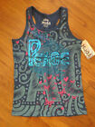 "GIRLS S/M/L MUDD METALLIC RACERBACK ""PEACE"" TANK TOP (NEW)"