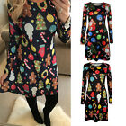 Womens Ladies Christmas Swing Dress Santa Snowflake Snowman Novelty Plus Size