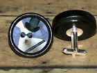 STEAMPUNK top hat WHITE RABBIT Altered Art CUFF LINK or HAIR PIN pair Set