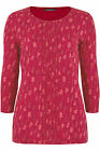 Bon Marche NEW red leaf print women's cotton pleat front top t shirt sizes 12-24