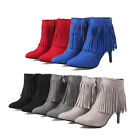 Women's Stiletto High Heels Pointy Toe Fringe Tassel Ankle Calf Boots Party Shoe