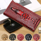 Mens Genuine Leather Crocodile Clutch Wallet Card Case Coin Holder Large Size