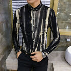 Men's Cool Striped Long Sleeve Fashion Casual Tops Button Front Slim Dress Shirt