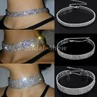Stretchy Bling Crystal Choker Silver Plated Diamante Necklace Wedding Prom Chain