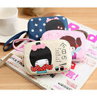 2015 Lovely Japanese Girl Print Canvas Phone Bag Double Zipper Purse Coin Bag FO