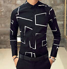 Men's Button Front Classic Black White Shirt Casual Work Long Sleeve Cotton Tops
