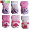 Baby Toddler Girls Cuddly Toy Rattle Animal 80% Cotton Terry Socks0-3m,3-6m,6-9m