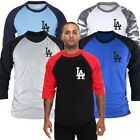 LA Los Angeles Dodgers 3/4 Sleeve Raglan Baseball Jersey TShirts Tee Top MLB N2