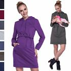 Happy Mama. Women's Maternity Nursing Hooded Sweatshirt Dress Layer Design. 208p