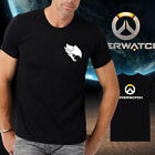 Men new cotton OW overwatch logo Pharah Black Tshirt Crew Neck Short Sleeve tee