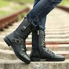 Punk Mens Military Buckle Lace Up Casual Boys Side Zip Mid Calf Motorcycle Boots