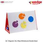 A2 WEDGE WHITEBOARD Dry-Wipe, Magnetic, Double Sided, Portable,Table Top,Display