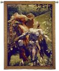 Medieval Knight & Lady on Horse Woven Art Tapestry Wall Hanging Made in USA