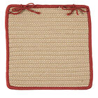 Boat House Indoor Outdoor Braided Square Chair Pad, Tan with Rust Red Border