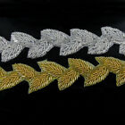 1yd Silver/Gold Beaded Applique Trim Sew/Iron On Beaded Bridal Costume 2 Colours