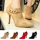 Solid Ankle Boot Pointed Toe Stiletto Zip Pump High Heel Work OL New Women Shoes