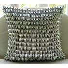 """Silver Faux Leather 14""""x14"""" 3D Metallic Leather Pillows Cover - Metallic Ecstazy"""
