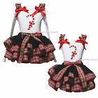 Xmas Candy Cane Stick White Top Red Green Check Black Satin Trim Skirt Girl 0-8Y