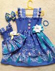 New Handmade Blue #2 Elsa Dress Toddler/Girls  HairBow & Dol
