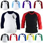 Mens Chicago White Sox 3/4 Sleeve Raglan Baseball Jersey TShirt Tee Top L8