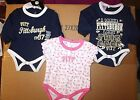 NWT Baby Girls Pitt Panthers Navy Blue/pink 3pack short/long sleeve bodysuits