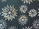 Star Flowers Batik Tonga Quilt Fabric Black Timeless Treasures FQ, BTHY, BTY