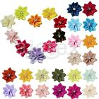 10pcs Satin Ribbon Flower Rhinestones Wedding Appliques 28*30mm DIY Wholesale
