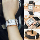 Fashion Men Women Watch Leather Band Square Dial Quartz Analog Wristwatch New