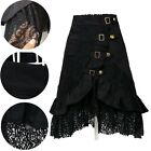 Women's Steampunk Gothic Black Lace Splicing Metal Button Buckle Skirt Deluxe