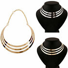 Women Fashion Punk Metal Necklace Jewelry Multilayer Hallow Collar Gold/Silver