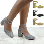 Womens Low Mid Block Heel Ladies Ankle Straps Buckle Party Sandals Court Shoes