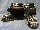 Ladies/Womens Hand Knitted Bootie Slippers Fleece Lining Faux Fur - Thick Sole