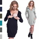 Happy Mama. Women's Maternity Nursing Sweatshirt Dress Long Sleeve Pockets. 901p