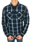 Mens Size XL Superdry Winter Washbasket L/S Shirt in Thunderbolt Navy Check