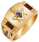 Custom Birthstone Gold Vermeil 0.925 Sterling Silver Masonic Solid Back Ring