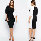 hot Plus Sexy Women Bodycon 3/4 Sleeve Dress Casual Evening Party Cocktail S-5XL