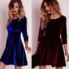 Winter Women Velvet Swing Plush Dress Party Evening Porm Skater Midi Dress